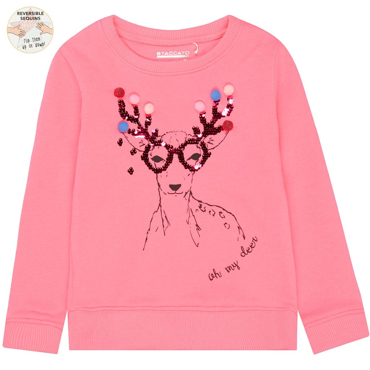 WENDEPAILLETTEN Sweatshirt Rentier - Flash Pink