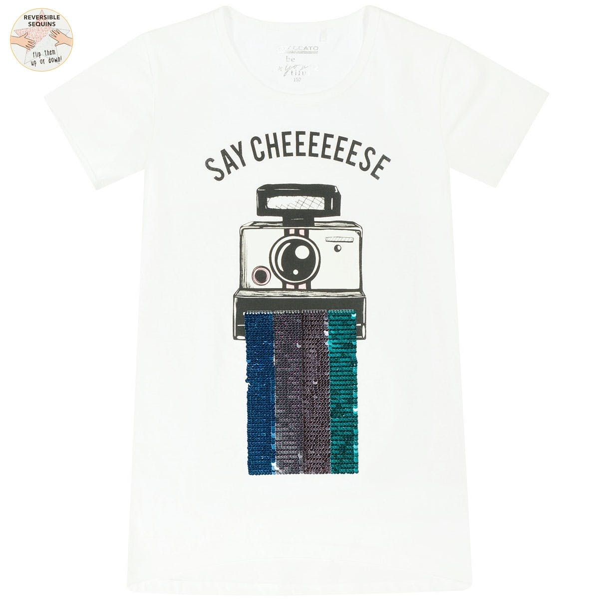 T-Shirt Say Cheese WENDEPAILLETTEN - Pearl White