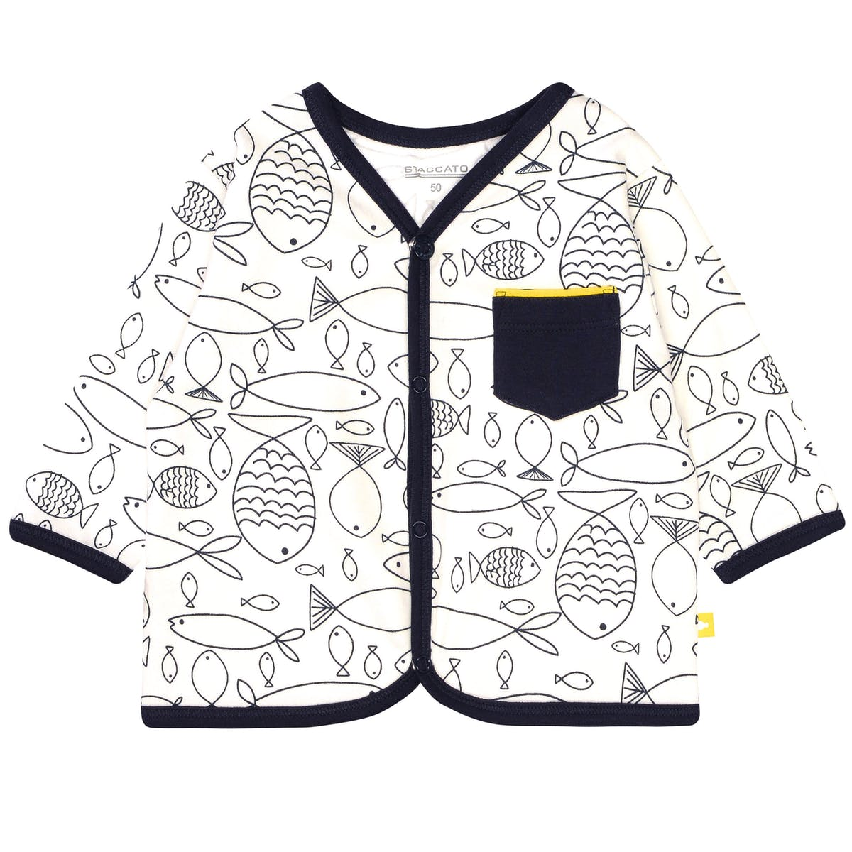 ORGANIC COTTON Jacke FISCH - Offwhite Alloverprint