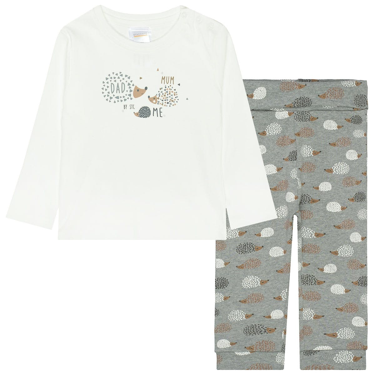 ORGANIC COTTON Pyjama MUM - Grey Melange Alloverprint
