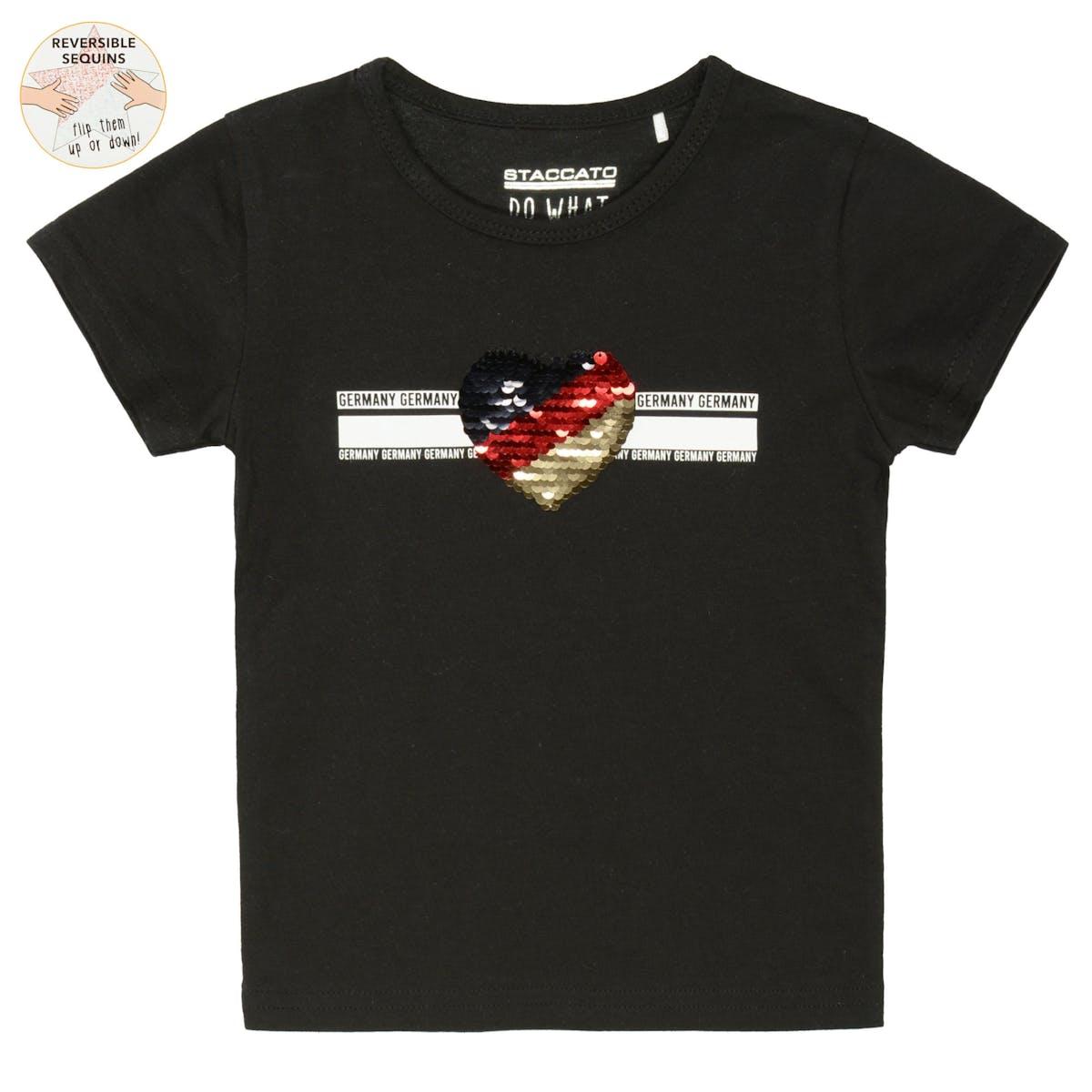 SOCCER T-Shirt mit Print und Wendepailletten - black