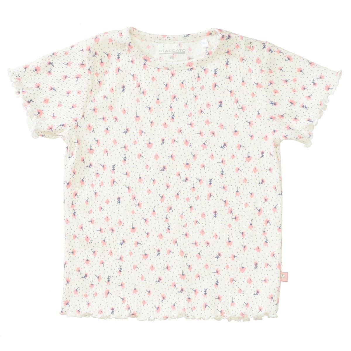 T-Shirt mit feiner Ripp-Struktur - Cream AOP