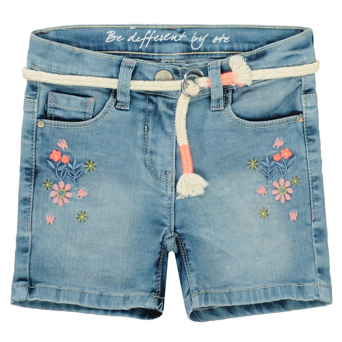 Mädchen Jeans Shorts mit Stickerei - Light Blue Denim