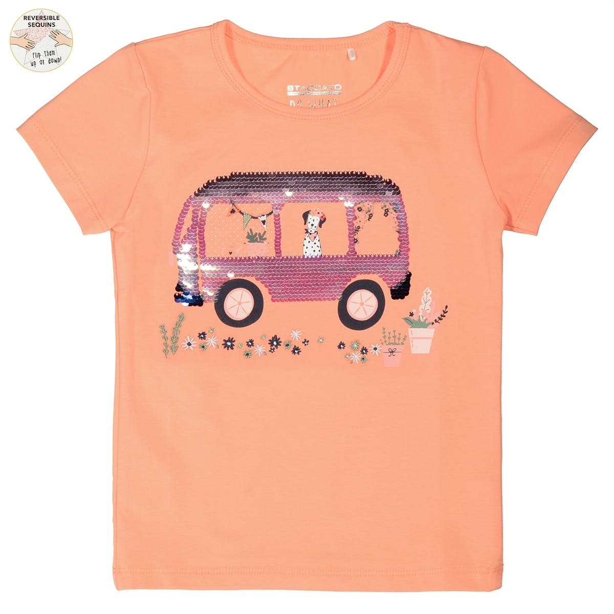 WENDEPAILLETTEN T-Shirt - Light Orange