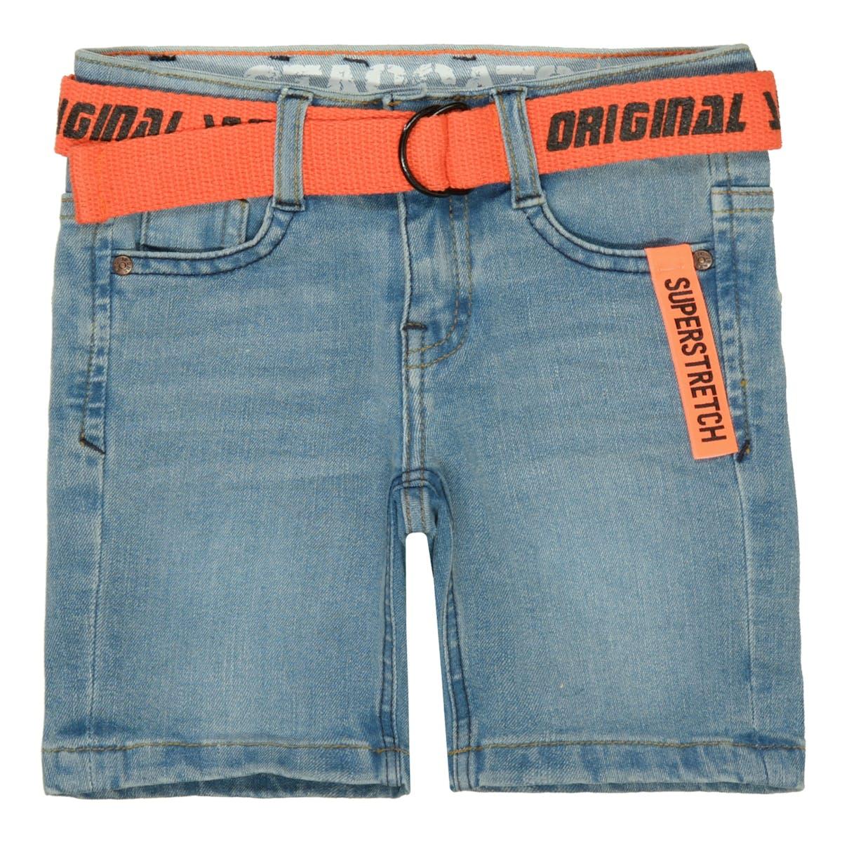 Jeans-Bermudas mit Gürtel - Light Blue Denim