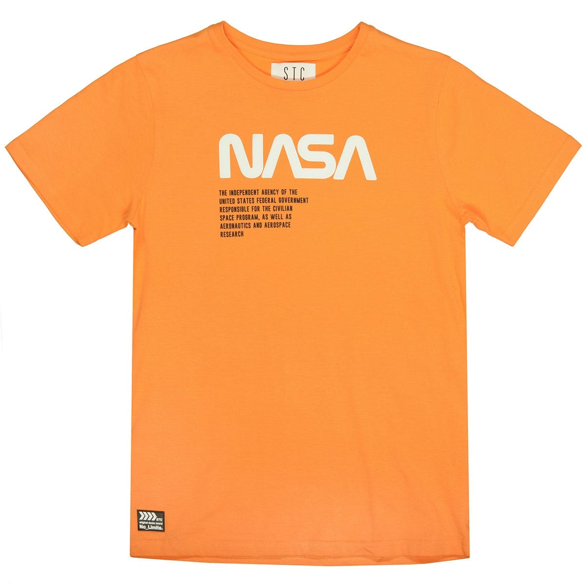 T-Shirt mit gummiertem NASA-Print - Orange