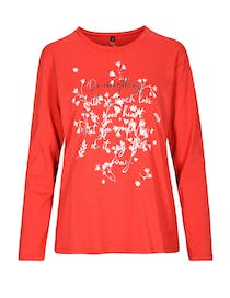 FRY DAY Langarmshirt mit Front-Print - Spicy Red