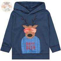 Kapuzen Sweatshirt mit Rentier-Motiv - Washed Blue