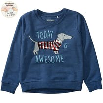 WENDEPAILLETTEN Sweatshirt Today Awesome - Dark Blue Melange