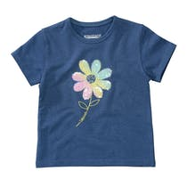 T-Shirt mit Pailletten-Applikation auf der Front - Indigo Blue