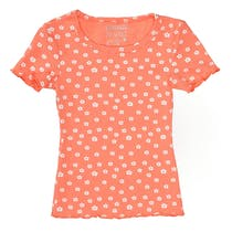 T-Shirt mit floralem Print - Light Orange