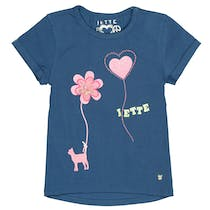 JETTE T-Shirt mit Pailletten-Applikation - Steel Blue