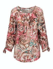 FASHION WITH SOUL Bluse mit Allover-Print - Beere